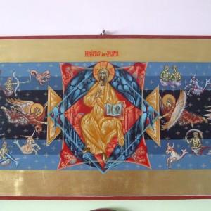 Icoana Hristos in slava si zodiile