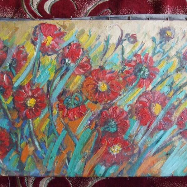 Tablou Flori pe camp in bataia vantului